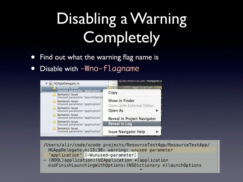 Disabling a Warning Completely • Find out what ...