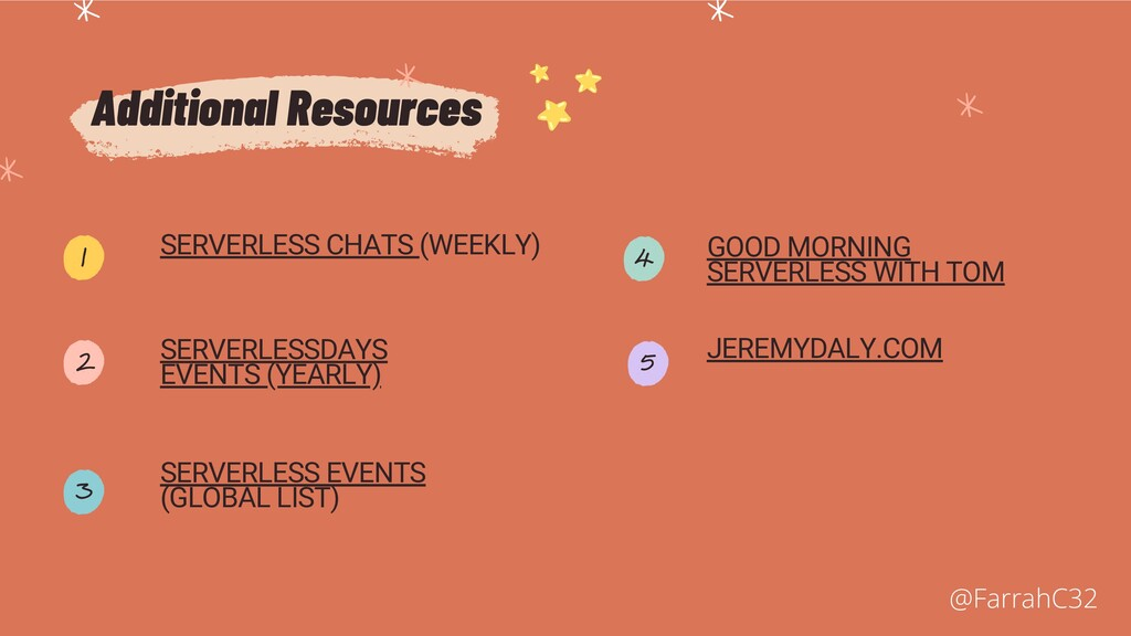 Additional Resources SERVERLESS CHATS (WEEKLY) ...