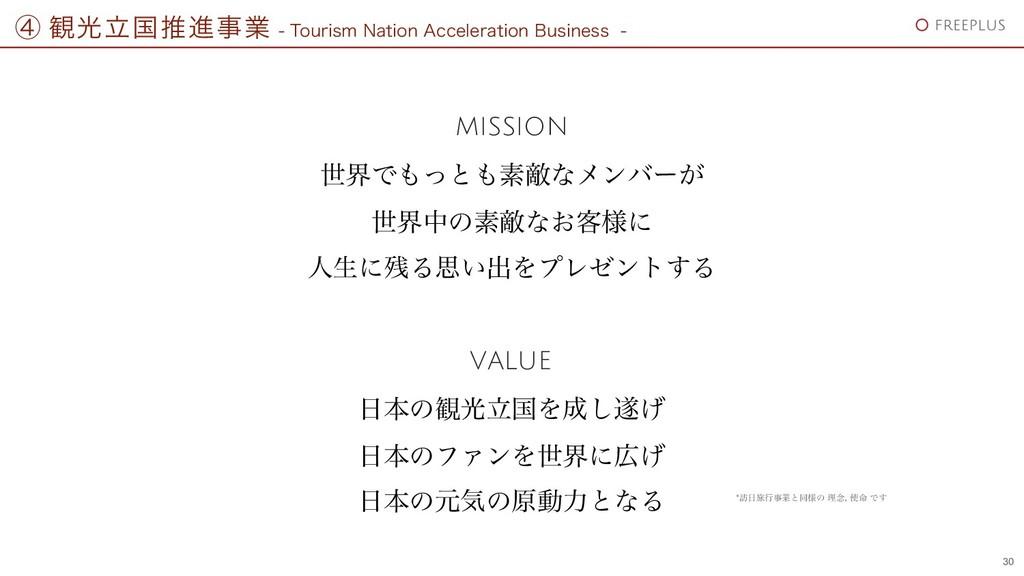 MISSION VALUE ੈքͰͬͱૉఢͳϝϯόʔ͕ ੈքதͷૉఢͳ͓٬༷ʹ ਓੜʹΔ...