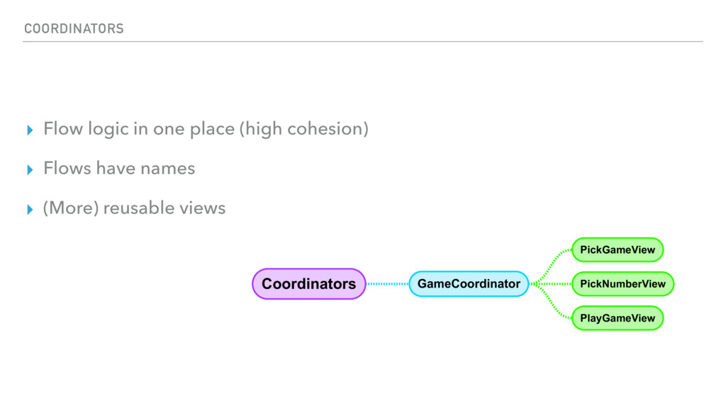COORDINATORS ▸ Flow logic in one place (high co...