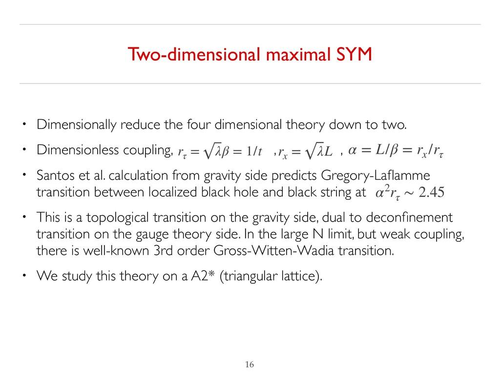 Two-dimensional maximal SYM !16 rτ = λβ = 1/t r...