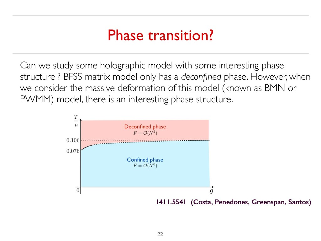 Phase transition? !22 Can we study some hologra...