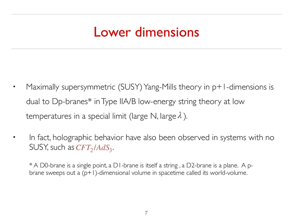 Lower dimensions !7 • Maximally supersymmetric ...