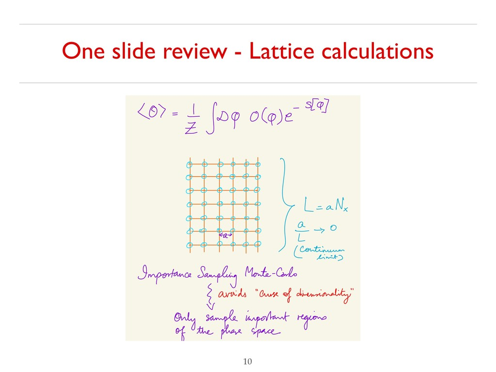 One slide review - Lattice calculations !10 ⑧ =...
