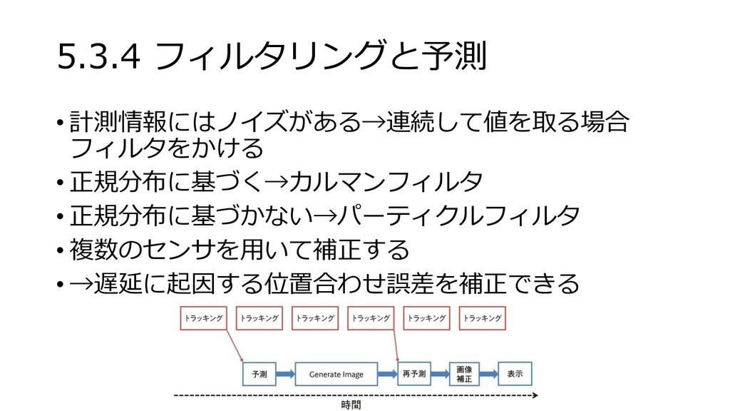 5.3.4 フィルタリングと予測 • 計測情報にはノイズがある→連続して値を取る場合 フィルタ...