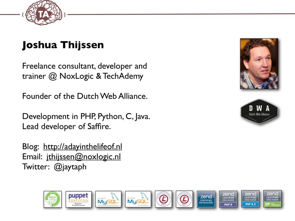 TechAdemy.nl Joshua Thijssen Freelance consulta...