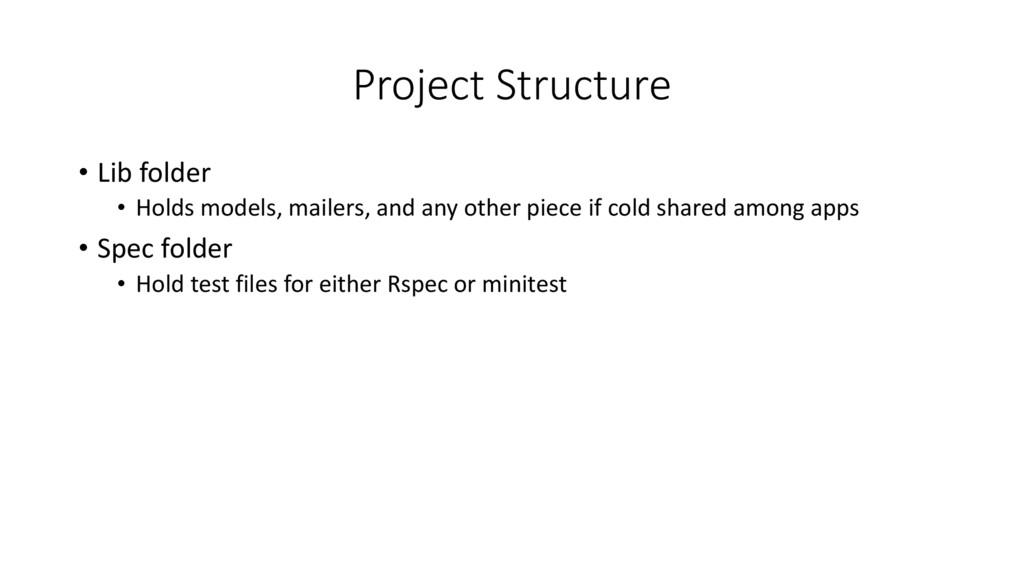 Project Structure • Lib folder • Holds models, ...