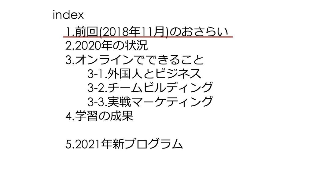1.前回(2018年11⽉)のおさらい 2.2020年の状況 3.オンラインでできること 3-...