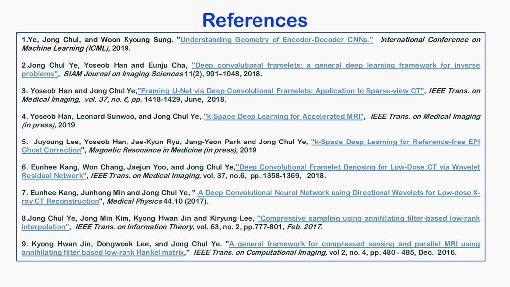 References 1.Ye, Jong Chul, and Woon Kyoung Sun...