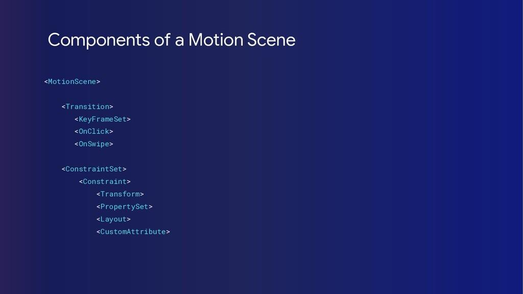 <MotionScene> <Transition> <KeyFrameSet> <OnCli...