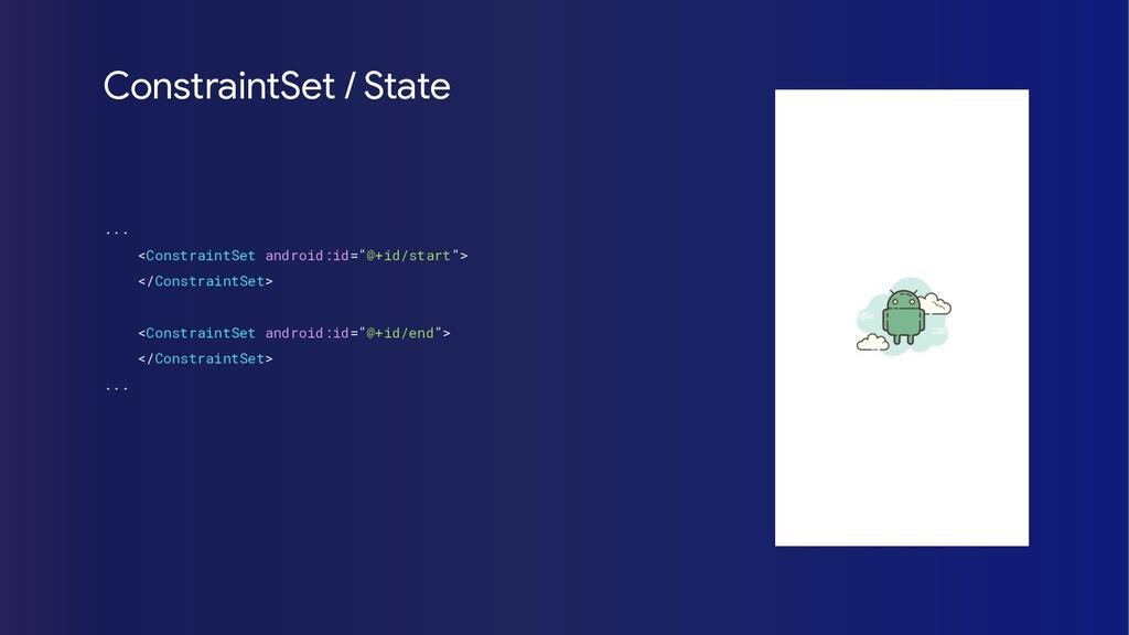 "... <ConstraintSet android:id=""@+id/start""> </C..."