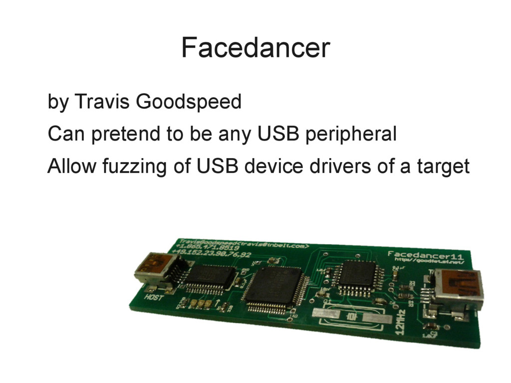 Facedancer by Travis Goodspeed Can pretend to b...