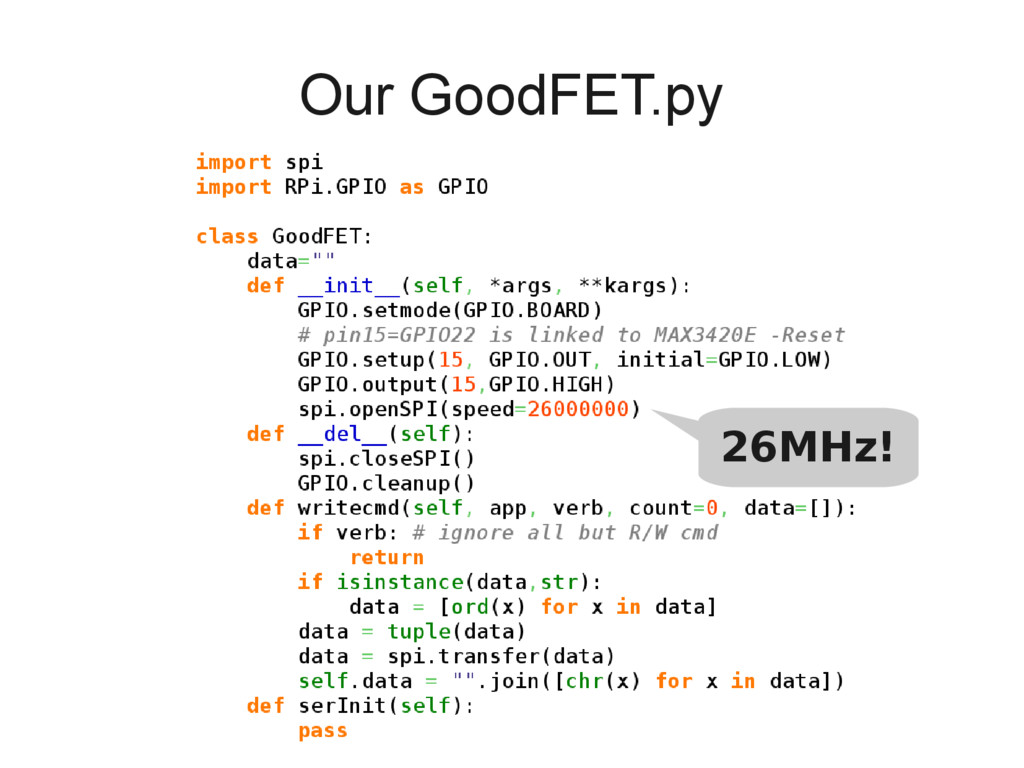 Our GoodFET.py 26MHz!