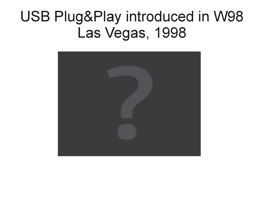 USB Plug&Play introduced in W98 Las Vegas, 1998