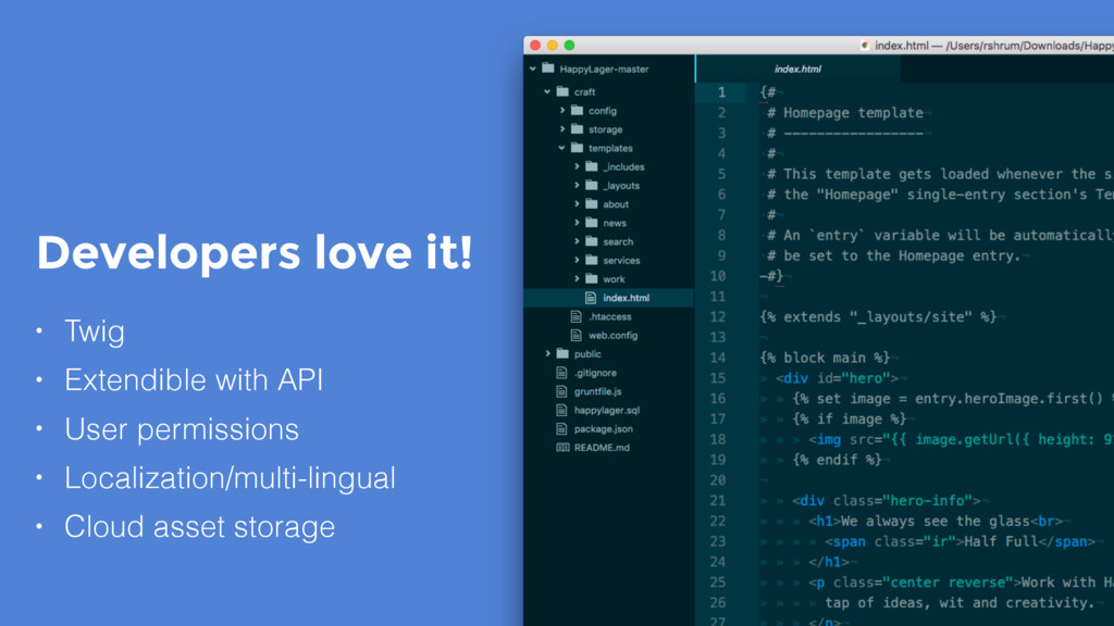 Developers love it! • Twig • Extendible with AP...