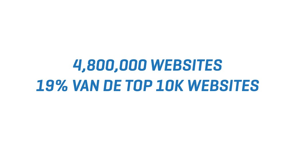 4,800,000 WEBSITES 19% VAN DE TOP 10K WEBSITES
