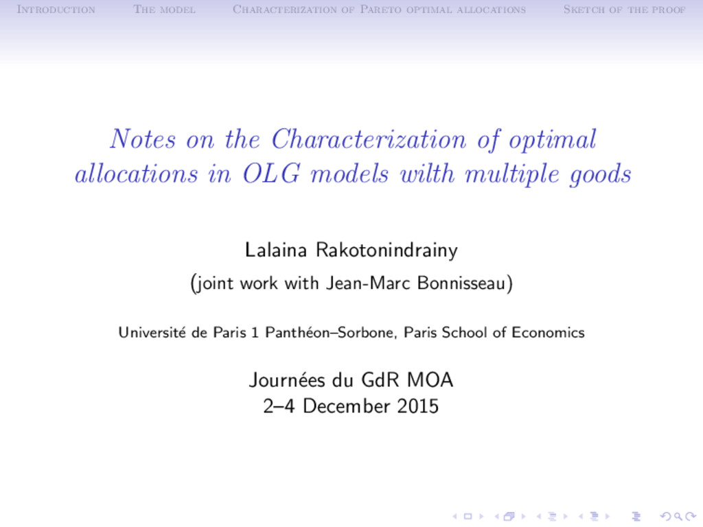 Introduction The model Characterization of Pare...