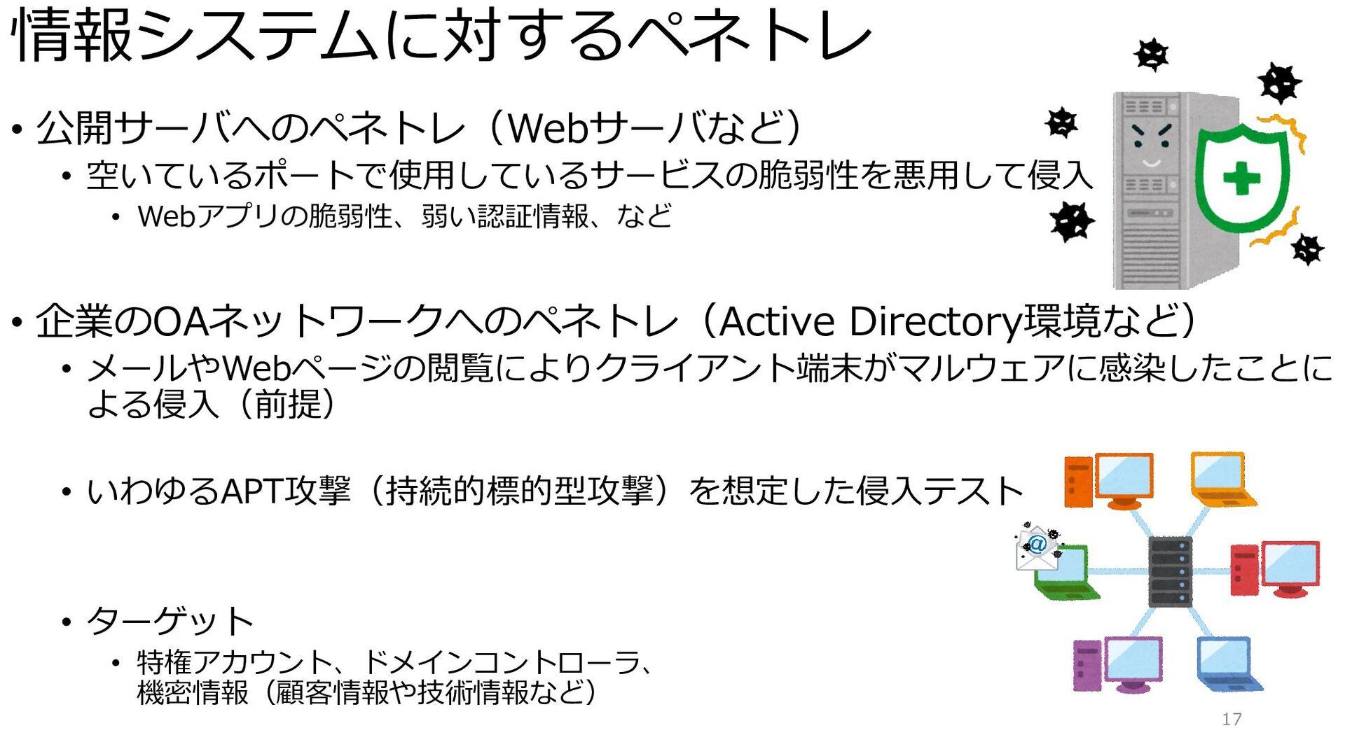 情報システムに対するペネトレ • 公開サーバへのペネトレ(Webサーバなど) • 空いているポ...