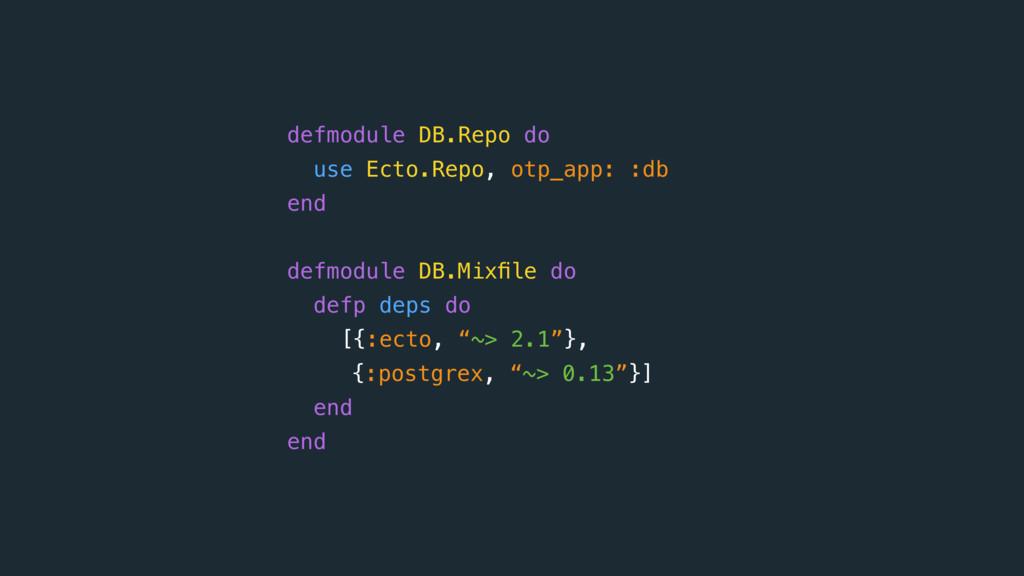 defmodule DB.Repo do use Ecto.Repo, otp_app: :...