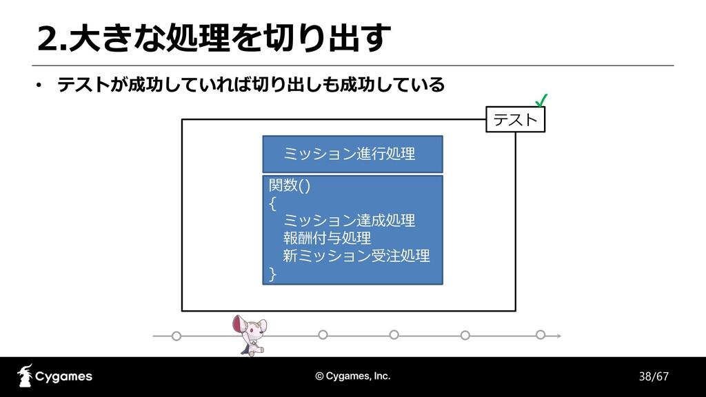 テスト 2.⼤きな処理を切り出す • テストが成功していれば切り出しも成功している 関数() ...