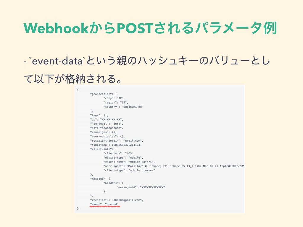 Webhook͔ΒPOST͞ΕΔύϥϝʔλྫ - `event-data`ͱ͍͏ͷϋογϡΩ...
