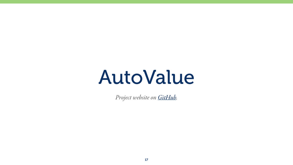 AutoValue 17 Project website on GitHub.
