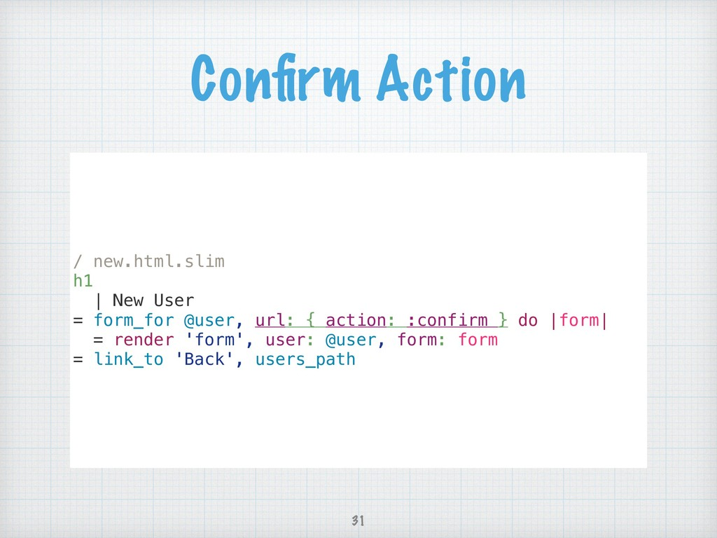 Confirm Action / new.html.slim h1 | New User = f...