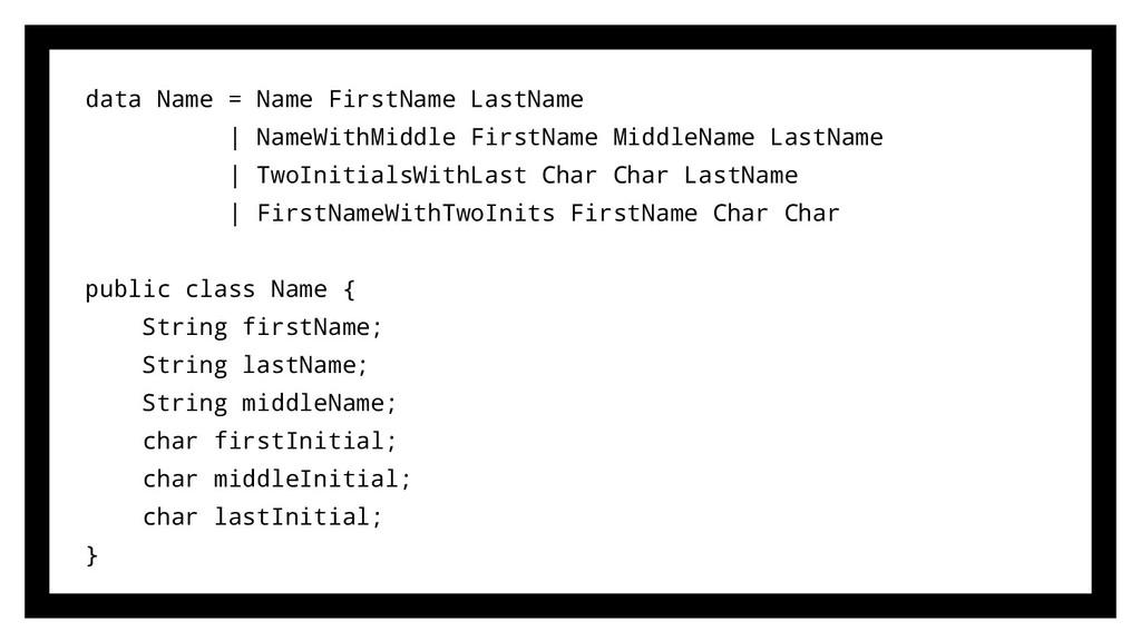 data Name = Name FirstName LastName | NameWithM...