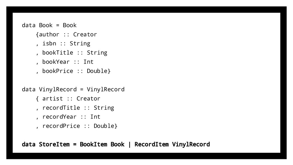 data Book = Book {author :: Creator , isbn :: S...