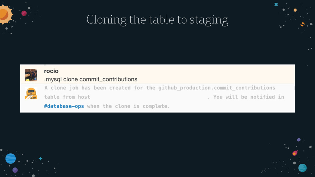 Cloning the table to staging