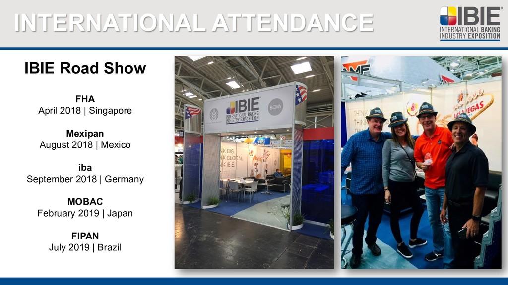 INTERNATIONAL ATTENDANCE IBIE Road Show FHA Apr...