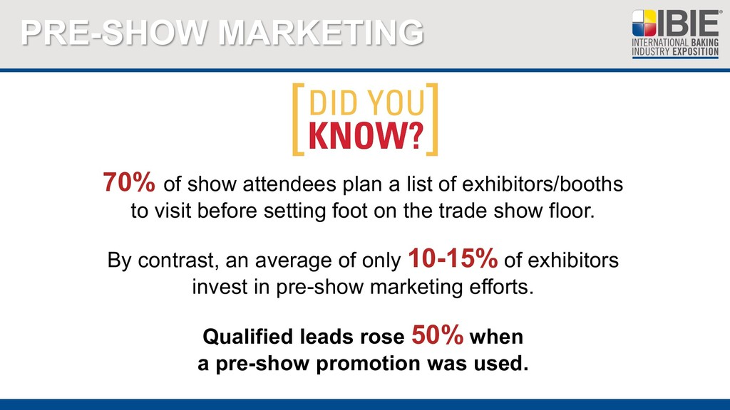 PRE-SHOW MARKETING 70% of show attendees plan a...