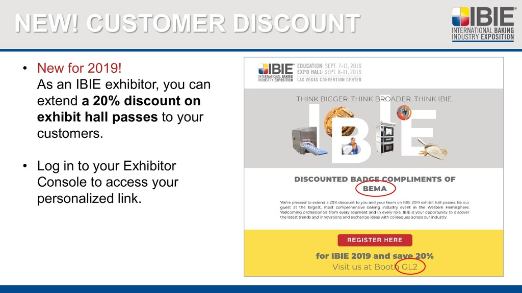 NEW! CUSTOMER DISCOUNT • New for 2019! As an IB...