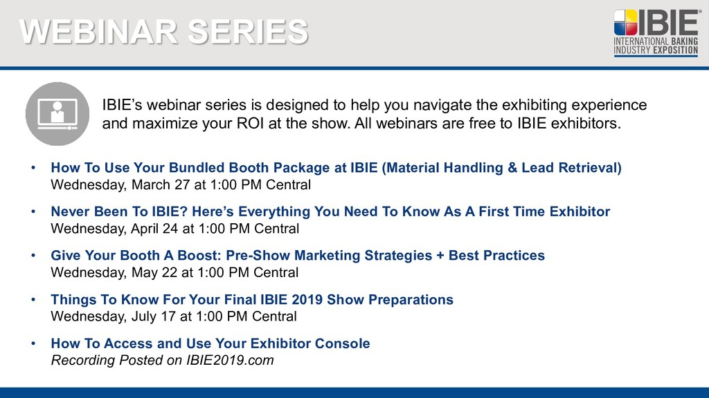 WEBINAR SERIES • How To Use Your Bundled Booth ...