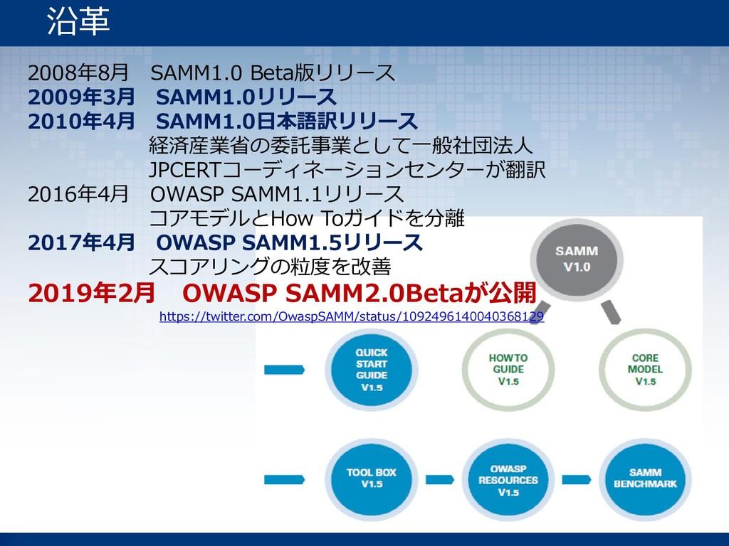 2008年8月 SAMM1.0 Beta版リリース 2009年3月 SAMM1.0リリース 2...