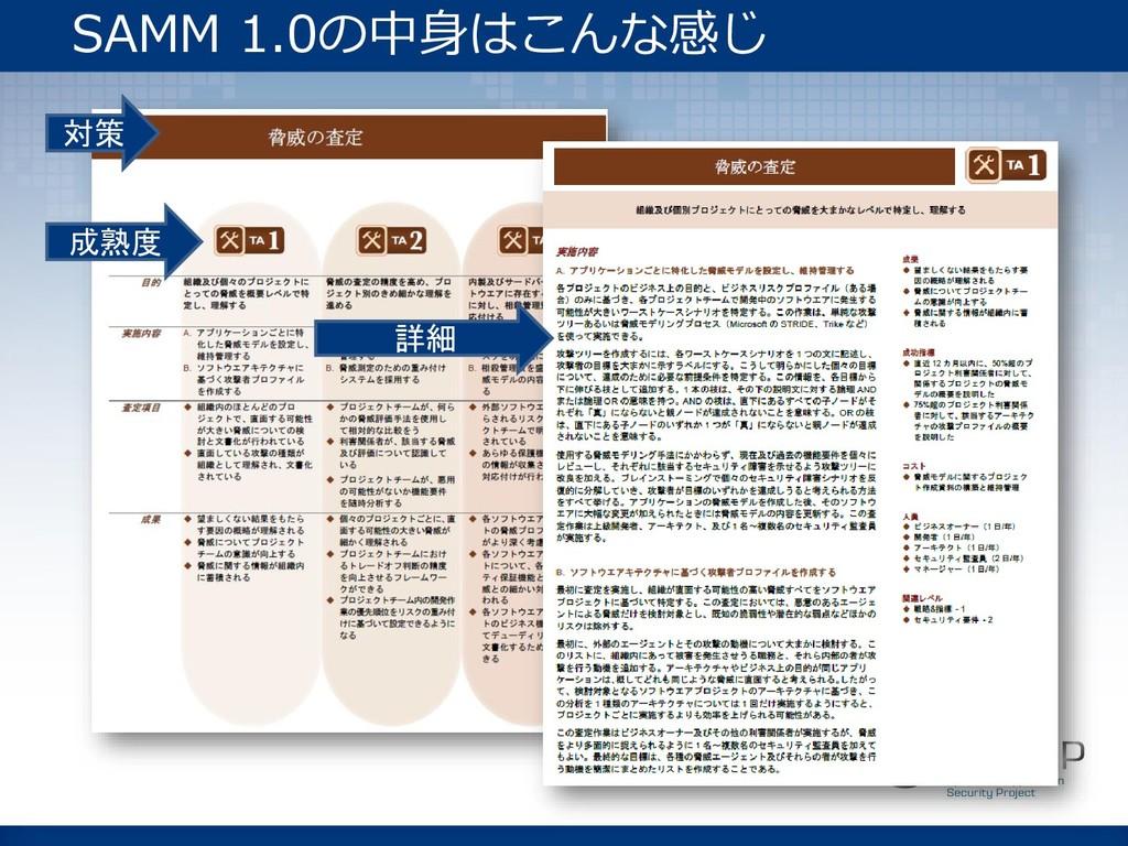 対策 成熟度 詳細 SAMM 1.0の中身はこんな感じ