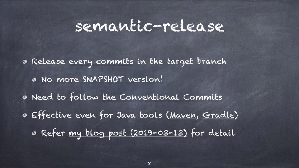 semantic-release Release every commits in the t...