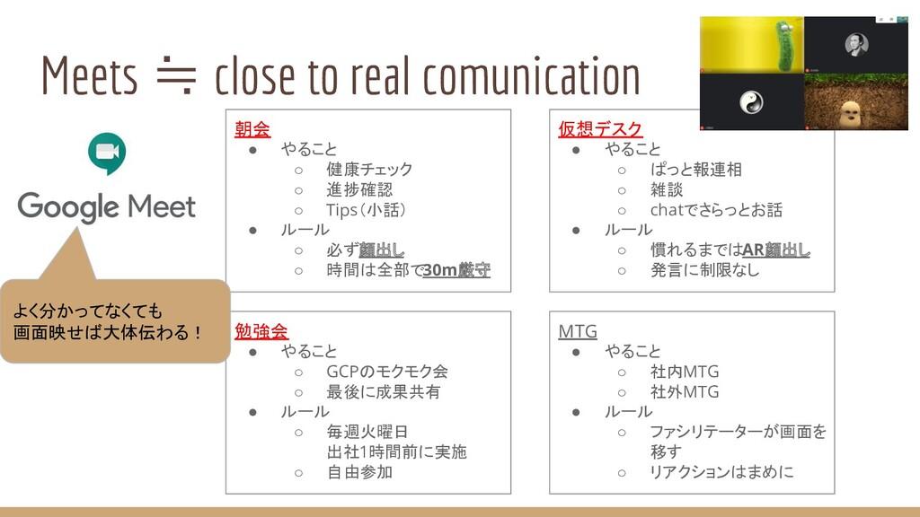 Meets ≒ close to real comunication 朝会 ● やること ○ ...