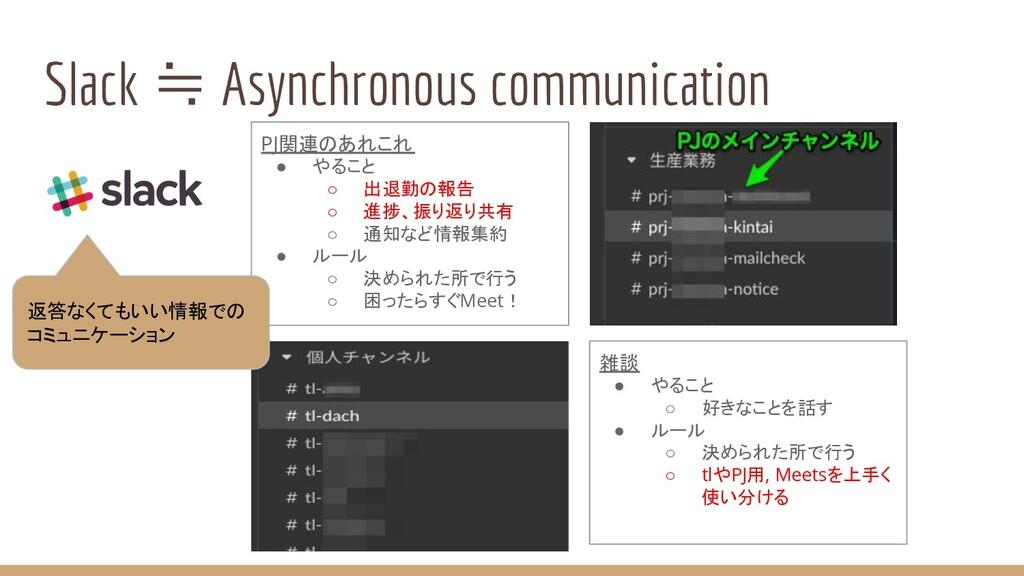 Slack ≒ Asynchronous communication PJ関連のあれこれ ● ...