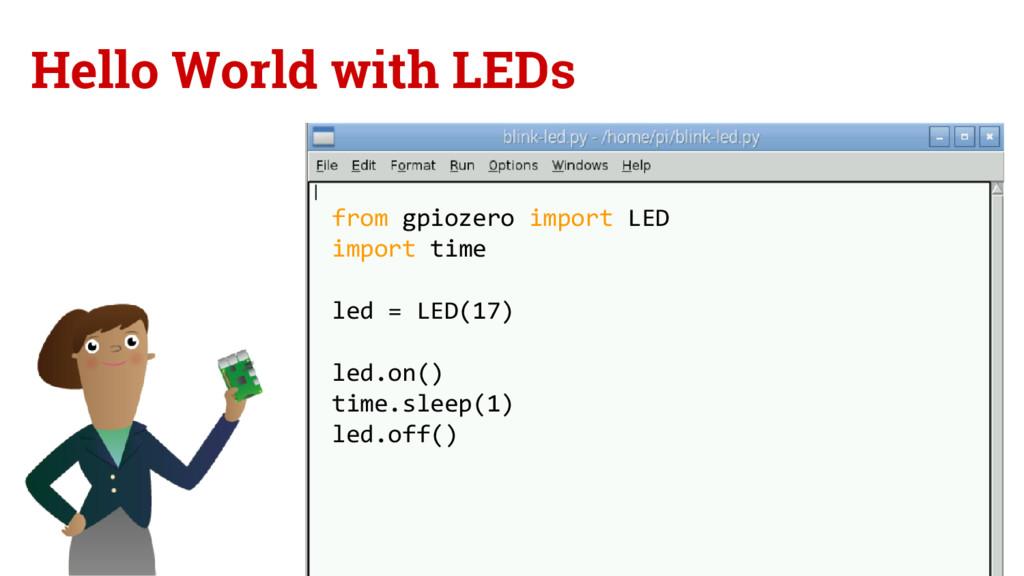 Hello World with LEDs from gpiozero import LED ...