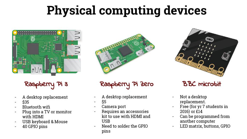 Raspberry Pi 3 Raspberry Pi Zero BBC micro:bit ...