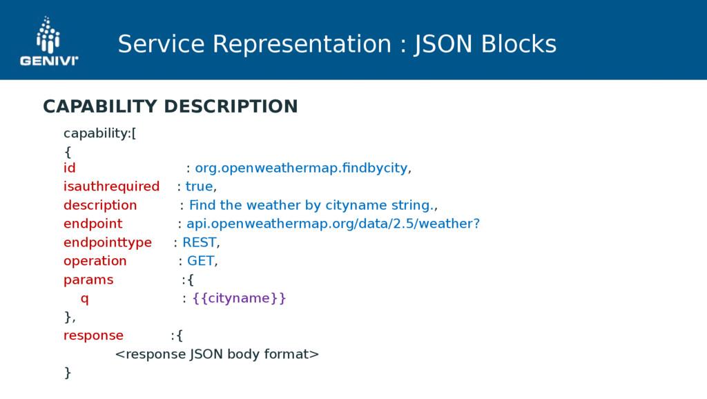Service Representation : JSON Blocks capability...