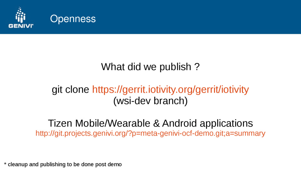 Openness What did we publish ? git clone https:...