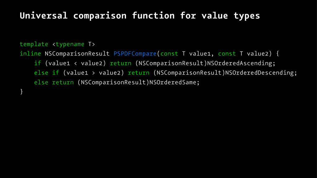 Universal comparison function for value types t...