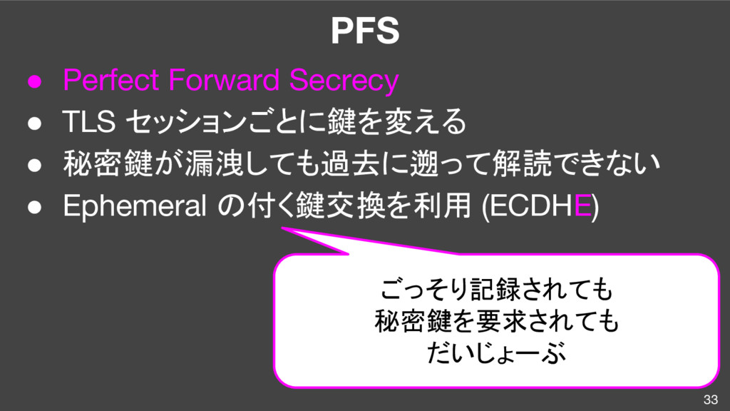 PFS ● Perfect Forward Secrecy ● TLS セッションごとに鍵を変...