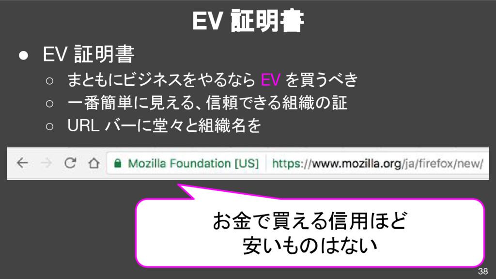 EV 証明書 ● EV 証明書 ○ まともにビジネスをやるなら EV を買うべき ○ 一番簡単...
