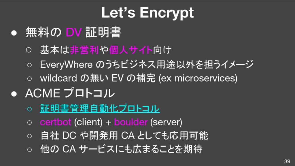 Let's Encrypt ● 無料の DV 証明書 ○ 基本は非営利や個人サイト向け ○ E...