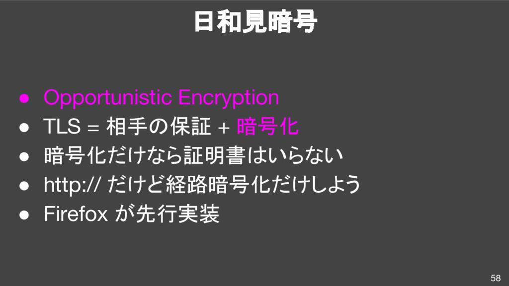 日和見暗号 58 ● Opportunistic Encryption ● TLS = 相手の...