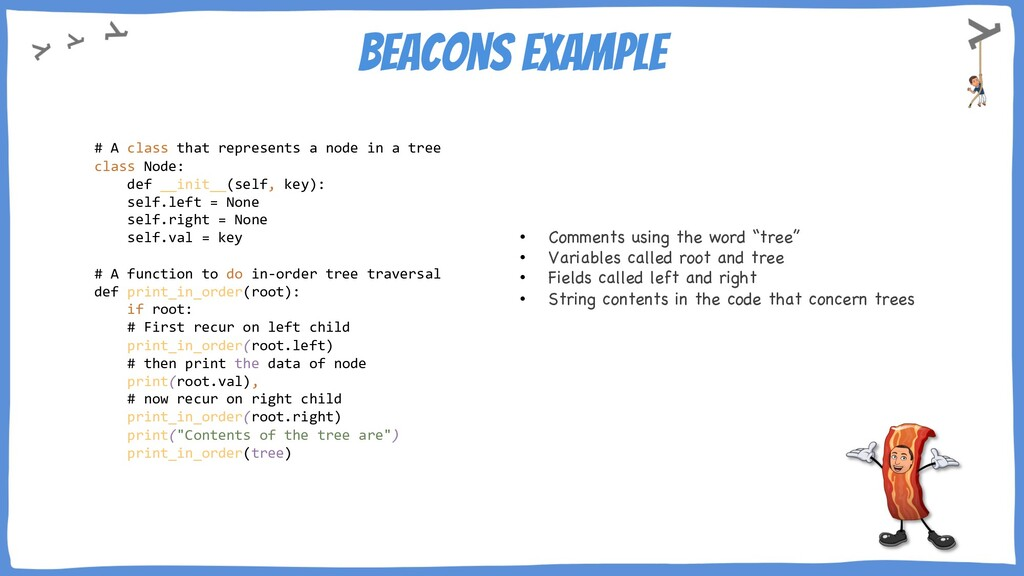 Beacons example # A class that represents a nod...