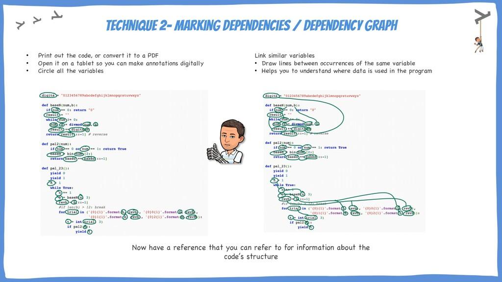 Technique 2- marking dependencies / dependency ...